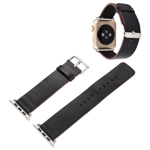 For Apple Watch Series 3 & 2 & 1 42mm Plant Epidermis Texture PU Leather Wrist Watch Band (Black) genuine leather classic buckle watch straps wrist band for apple watch 42mm red