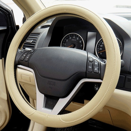 Buy Car Microfiber Leather Steering Wheel Cover (Colour: Beige, Adaptation Steering wheel diameter: 38cm) for $4.50 in SUNSKY store