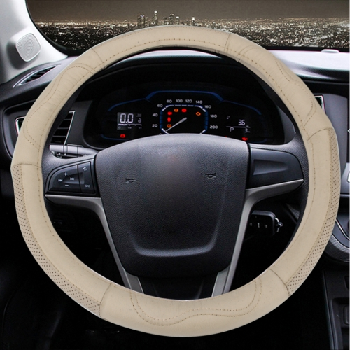 Buy Leather Steering Wheel Cover To Cover Car Skid Car (Colour: Beige, Adaptation Steering wheel diameter: 38cm) for $5.57 in SUNSKY store
