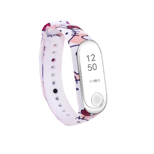 Kitty Cat Pattern Silicone Painting Wrist Strap Watch Band for Xiaomi Mi Band 3, Compatible with Mi Band 3 (CA3657B) joyozy strap watchband for garmin fenix 5 fenix5 multisport gps watch 22mm sports silicone quick release wrist band with tools
