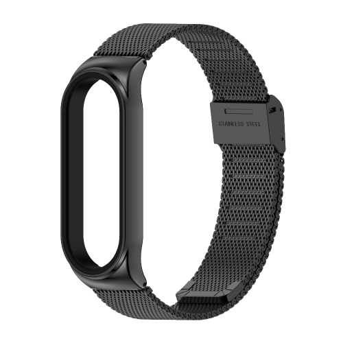 Mijobs Metal Strap for Xiaomi Mi Band 3 Screwless Buckle Style Stainless Steel Bracelet Wristbands Replace Accessories, Host not Included(Black)