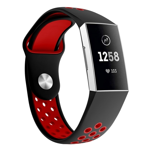 Two-color Round Hole Silicone Wrist Strap Watch Band for Fitbit Charge 3, Wrist Strap Size:130-195mm (Red) фото