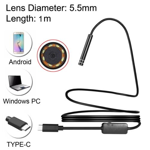 Buy USB-C / Type-C Endoscope Waterproof IP67 Snake Tube Inspection Camera with 8 LED & USB Adapter, Length: 1m, Lens Diameter: 5.5mm for $8.96 in SUNSKY store
