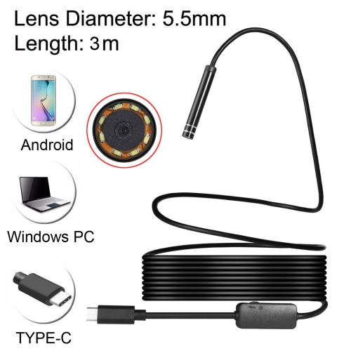 Buy USB-C / Type-C Endoscope Waterproof IP67 Snake Tube Inspection Camera with 8 LED & USB Adapter, Length: 3m, Lens Diameter: 5.5mm for $9.30 in SUNSKY store