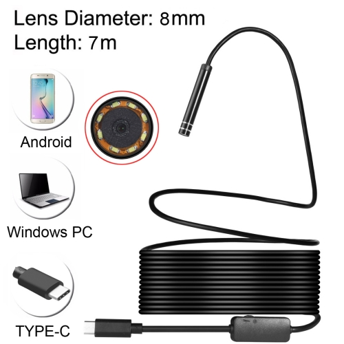 Buy USB-C / Type-C Endoscope Waterproof Snake Tube Inspection Camera with 8 LED & USB Adapter, Length: 7m, Lens Diameter: 8mm for $10.35 in SUNSKY store