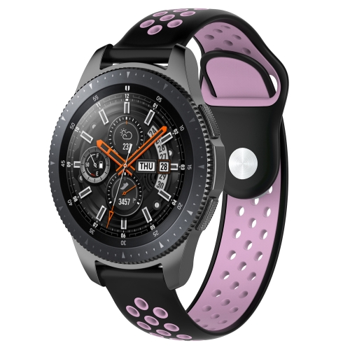 Double Color Wrist Strap Watch Band for Galaxy Watch 46mm (Black Pink)