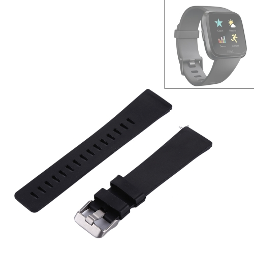 For Fitbit Versa Simple Fashion Silicone Watch Strap(Black) 2pcs black strap button mounting screw for guitar mandolin