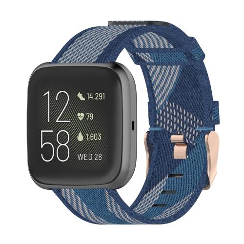 23mm Stripe Weave Nylon Wrist Strap Watch Band for Fitbit Versa 2, Fitbit Versa, Fitbit Versa Lite, Fitbit Blaze (Blue) фото
