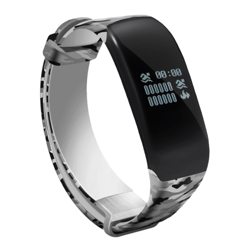 Buy H5 0.66 inch OLED Screen Bluetooth 4.0 Life Waterproof Sport Smart Bracelet for Android 4.3 / iOS 7.0 and Above System, Support Call Reminder / Heart Rate / Pedometer / Sleep Monitor / Swimming Data Record / Calories / Message Push (Camouflage Grey) for $20.61 in SUNSKY store