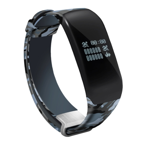 Buy H5 0.66 inch OLED Screen Bluetooth 4.0 Life Waterproof Sport Smart Bracelet for Android 4.3 / iOS 7.0 and Above System, Support Call Reminder / Heart Rate / Pedometer / Sleep Monitor / Swimming Data Record / Calories / Message Push (Camouflage Blue) for $20.63 in SUNSKY store