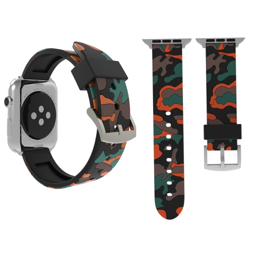 For Apple Watch Series 3 & 2 & 1 42mm Fashion Camouflage Pattern Silicone Watch Strap(Red) 38mm 42mm soft silicone sport strap for apple watch series 1 2 light flexible breathable replacement band watch strap for iwatch