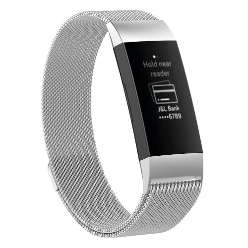 Stainless Steel Magnet Wrist Strap for FITBIT Charge 3, Size:Small, 187x18mm(Silver)