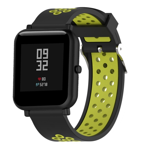 Double Colour Silicone Sport Wrist Strap for Xiaomi Huami Amazfit Bip Lite Version 20mm(Black Yellow)