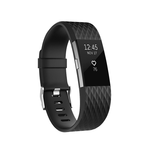 Diamond Pattern Adjustable Sport Wrist Strap for FITBIT Charge 2 (Black)