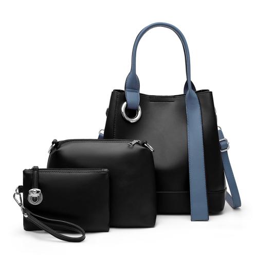 3 In 1 Fashion Solid Color Bucket Type Handbag Shoulder Bag(Black)