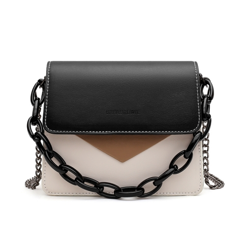 3 In 1 Fashion Color Matching Crossbody Small Square Bag Shoulder Bag (Black)