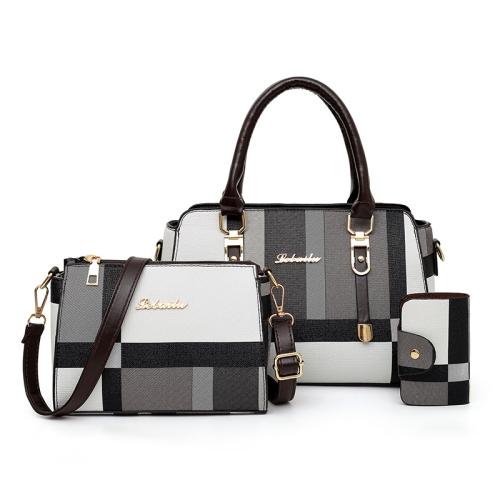 3 In 1 Fashion Color Matching Stripe Handbag Shoulder Bag (Black)