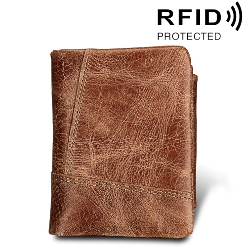 Buy Genuine Cowhide Leather Crazy Horse Texture Zipper 3-folding Short Style Card Holder Wallet RFID Blocking Coin Purse Card Bag Protect Case for Men, Size: 12*9.5*4cm, Taupe for $12.38 in SUNSKY store