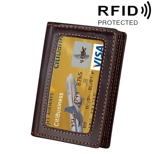 Buy Genuine Cowhide Leather Solid Color Card Holder Wallet RFID Blocking Coin Purse Card Bag Protect Case with 5 Card Slots & Photo Frame & Business Card Position, Size: 10.6*7.6*1.8 cm, Coffee for $5.13 in SUNSKY store