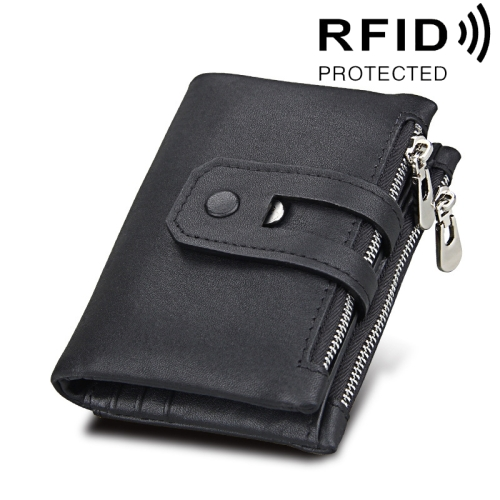 Buy Genuine Cowhide Leather Crazy Horse Texture Zipper 3-folding Card Holder Wallet RFID Blocking Coin Purse Card Bag Protect Case for Men, Size: 12*9.5*3.5cm, Black for $11.75 in SUNSKY store