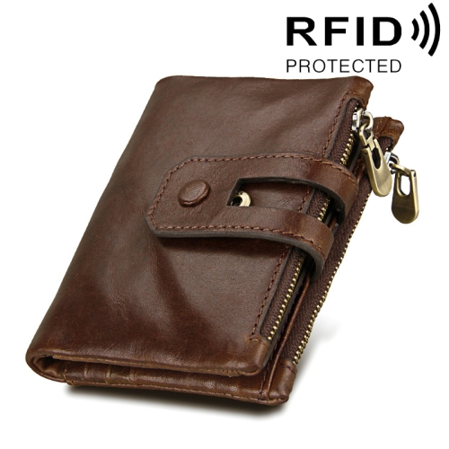 Buy Genuine Cowhide Leather Crazy Horse Texture Zipper 3-folding Card Holder Wallet RFID Blocking Coin Purse Card Bag Protect Case for Men, Size: 12*9.5*3.5cm, Coffee for $11.75 in SUNSKY store