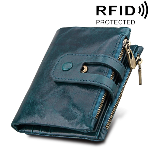 Buy Genuine Cowhide Leather Crazy Horse Texture Zipper 3-folding Card Holder Wallet RFID Blocking Coin Purse Card Bag Protect Case for Men, Size: 12*9.5*3.5cm, Blue for $11.75 in SUNSKY store