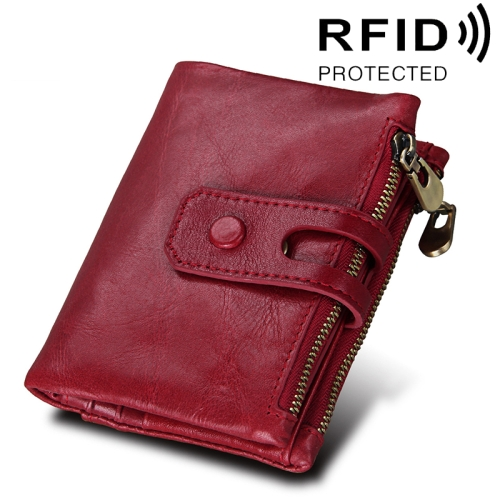 Buy Genuine Cowhide Leather Crazy Horse Texture Zipper 3-folding Card Holder Wallet RFID Blocking Coin Purse Card Bag Protect Case for Men, Size: 12*9.5*3.5cm, Red for $11.75 in SUNSKY store