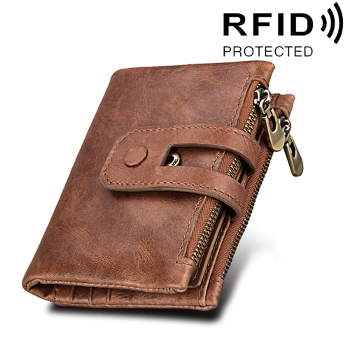 Buy Genuine Cowhide Leather Crazy Horse Texture Zipper 3-folding Card Holder Wallet RFID Blocking Coin Purse Card Bag Protect Case for Men, Size: 12*9.5*3.5cm, Taupe for $11.75 in SUNSKY store