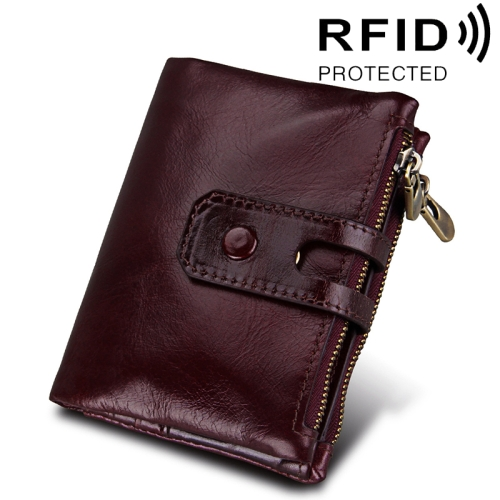 Buy Genuine Cowhide Leather Crazy Horse Texture Zipper 3-folding Card Holder Wallet RFID Blocking Coin Purse Card Bag Protect Case for Men, Size: 12*9.5*3.5cm (Red Brown) for $11.75 in SUNSKY store