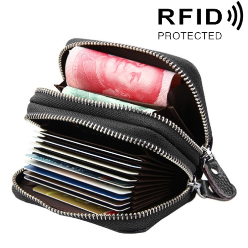 Buy Genuine Cowhide Leather Dual Layer Solid Color Zipper Card Holder Wallet RFID Blocking Coin Purse Card Bag Protect Case with Card Slots & Coin Position, Size: 10.5*7.0*4.0cm, Coffee for $5.21 in SUNSKY store