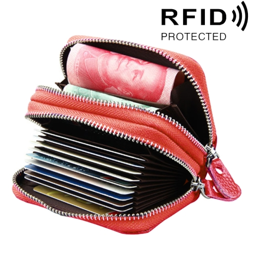Buy Genuine Cowhide Leather Dual Layer Solid Color Zipper Card Holder Wallet RFID Blocking Coin Purse Card Bag Protect Case with Card Slots & Coin Position, Size: 10.5*7.0*4.0cm, Red for $5.21 in SUNSKY store