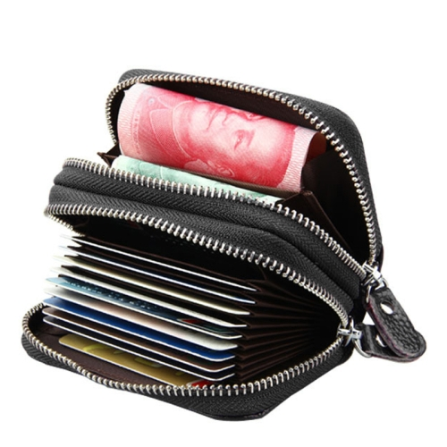 Buy Genuine Cowhide Leather Dual Layer Solid Color Zipper Card Holder Wallet Coin Purse Card Bag Protect Case with Card Slots & Coin Position, Size: 10.5*7.0*4.0cm, Black for $4.71 in SUNSKY store