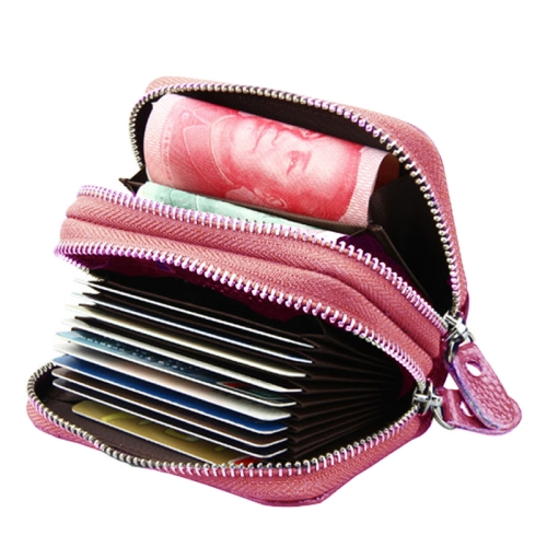 Buy Genuine Cowhide Leather Dual Layer Solid Color Zipper Card Holder Wallet Coin Purse Card Bag Protect Case with Card Slots & Coin Position, Size: 10.5*7.0*4.0cm, Pink for $4.71 in SUNSKY store
