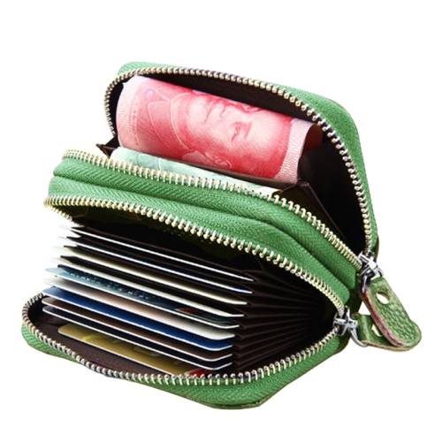 Buy Genuine Cowhide Leather Dual Layer Solid Color Zipper Card Holder Wallet Coin Purse Card Bag Protect Case with Card Slots & Coin Position, Size: 10.5*7.0*4.0cm, Green for $4.71 in SUNSKY store