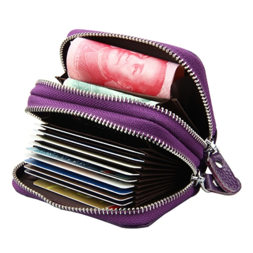 Buy Genuine Cowhide Leather Dual Layer Solid Color Zipper Card Holder Wallet Coin Purse Card Bag Protect Case with Card Slots & Coin Position, Size: 10.5*7.0*4.0cm, Purple for $4.76 in SUNSKY store