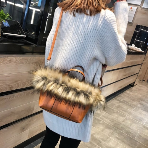 Leisure Fashion PU Leather Slant Shoulder Bag(Brown)