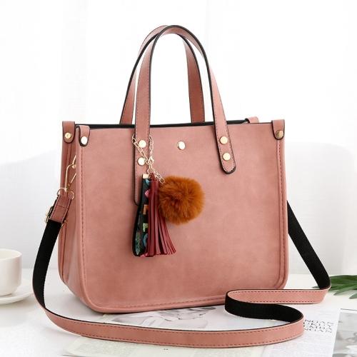 High Capacity Leisure Fashion PU Slant Shoulder Bag Handbag(Pink)