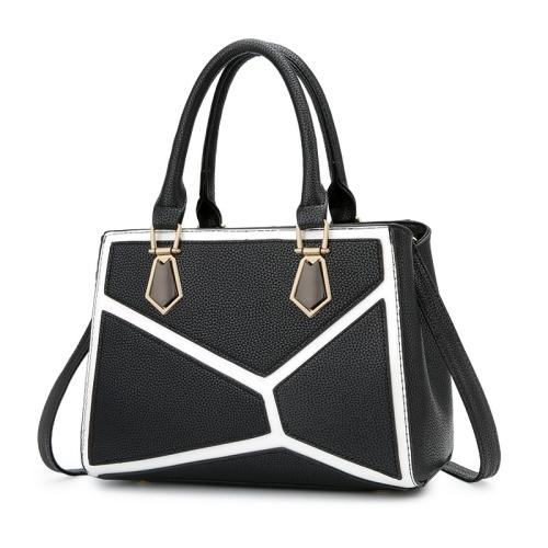 Leisure Fashion PU Slant Shoulder Bag Handbag(Black)