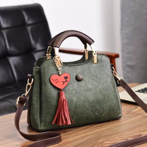 Leisure Fashion PU Slant Shoulder Bag Handbag(Army Green)
