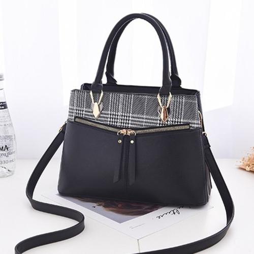 Stitching Plaid Leisure Fashion PU Slant Shoulder Bag Handbag(Black)