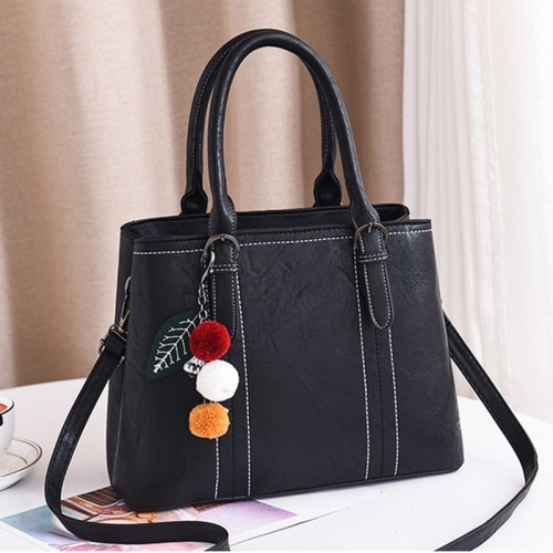Leisure Fashion PU Slant Shoulder Bag Handbag with plush ball(Black)