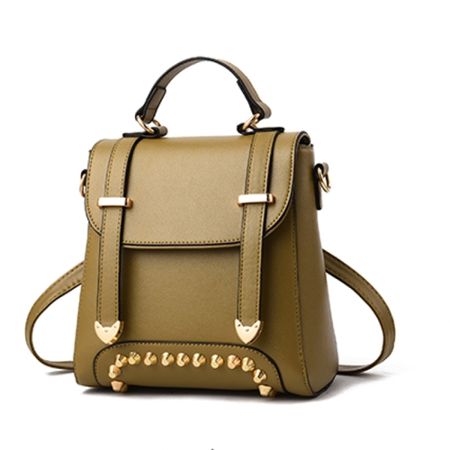 Rivet Pattern Leisure Fashion PU Double Shoulder Bag Handbag(Army Green)