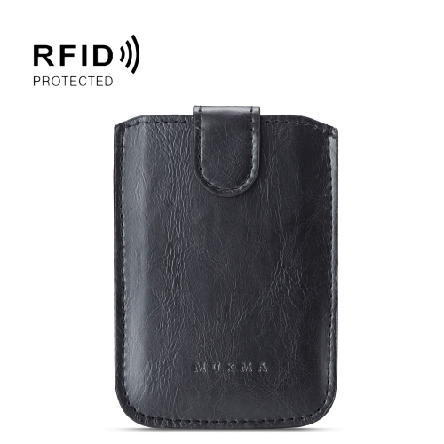 MUXMA RFID Blocking Leather Pocket Card 5 Card Pack Mobile Shell 3M Plastic Credit Card Set (Black)