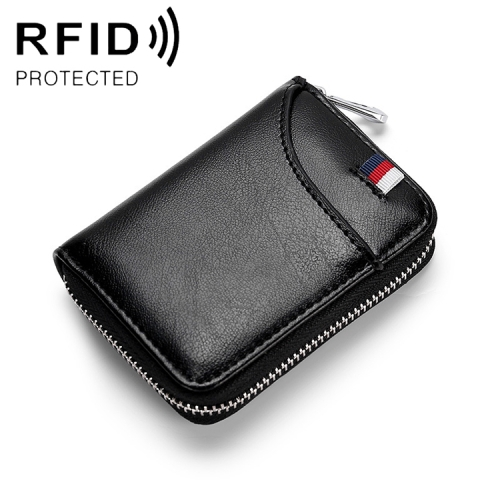 KB155 Antimagnetic RFID Zipper Leather Large-capacity Cards Holder Wallet (Black)