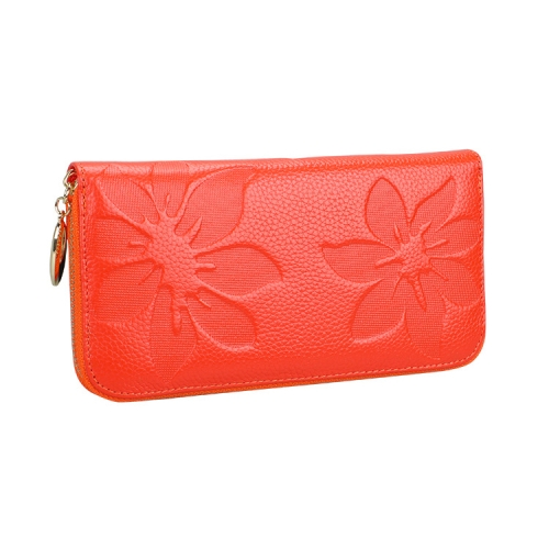 91 Antimagnetic RFID Litchi Texture Women Large Capacity Hand Wallet Purse Phone Bag with Card Slots(Orange)