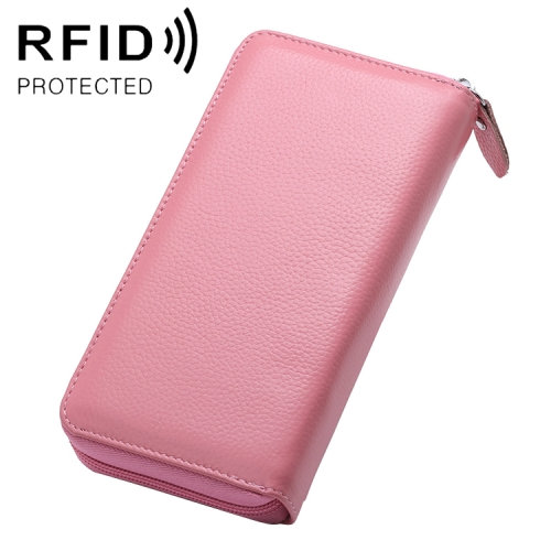 902 Antimagnetic RFID Litchi Texture Women Large Capacity Hand Wallet Purse Phone Bag with Card Slots(Pink)