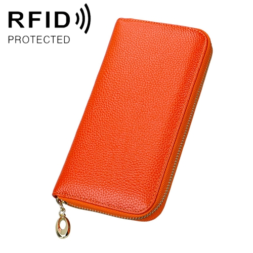 906 Antimagnetic RFID Litchi Texture Women Large Capacity Hand Wallet Purse Phone Bag with Card Slots(Orange)