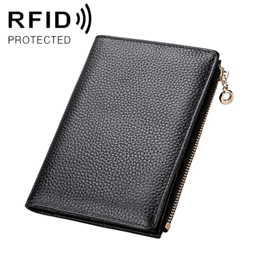 1005 Antimagnetic RFID Multifunctional Litchi Texture Women Large Capacity Passport Hand Wallet with Card Slots(Black)