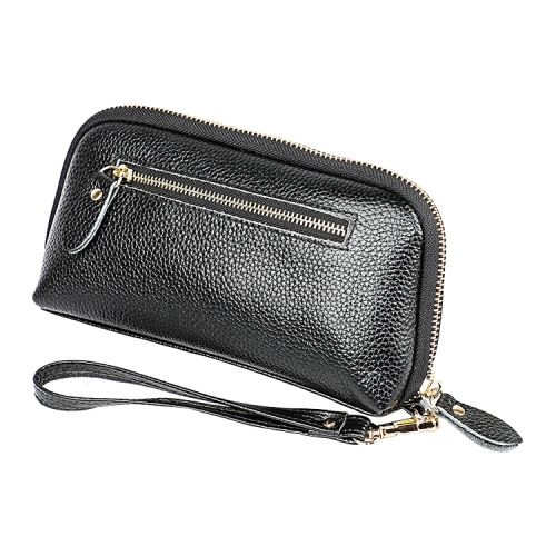2023 Antimagnetic RFID Multifunctional Litchi Texture Women Large Capacity Hand Wallet with Card Slots (Black)