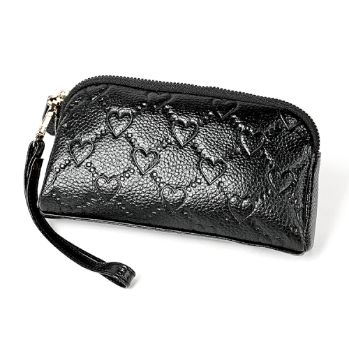 2025 Antimagnetic RFID Multifunctional Litchi Texture Women Large Capacity Hand Wallet Shell bag with Card Slots (Black)